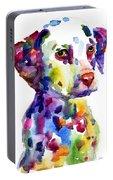 Colorful Dalmatian Puppy Dog Portrait Art Portable Battery Charger