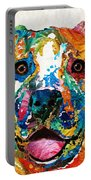 Colorful Dog Pit Bull Art - Happy - By Sharon Cummings Portable Battery Charger