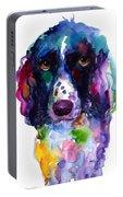 Colorful English Springer Setter Spaniel Dog Portrait Art Portable Battery Charger