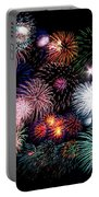 Colorful Fireworks Of Various Colors In Night Sky Portable Battery Charger