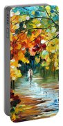 Colorful Forest - Palette Knife Oil Painting On Canvas By Leonid Afremov Portable Battery Charger