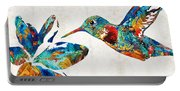 Colorful Hummingbird Art By Sharon Cummings Portable Battery Charger