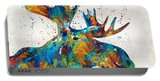 Colorful Moose Art - Confetti - By Sharon Cummings Portable Battery Charger