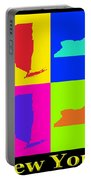 Colorful New York State Pop Art Map Portable Battery Charger