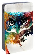 Colorful Owl Art - Wise Guy - By Sharon Cummings Portable Battery Charger