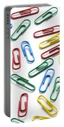 Colorful Paperclips On White Portable Battery Charger