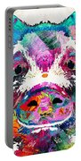 Colorful Pig Art - Squeal Appeal - By Sharon Cummings Portable Battery Charger