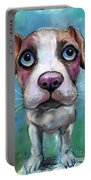Colorful Pit Bull Puppy With Blue Eyes Painting  Portable Battery Charger by Svetlana Novikova