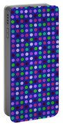 Colorful Polka Dots On Blue Fabric Background Portable Battery Charger