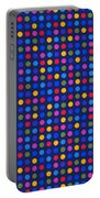 Colorful Polka Dots On Dark Blue Fabric Background Portable Battery Charger