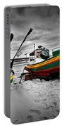 Colorful Retro Ship Boats On The Beach Portable Battery Charger