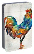 Colorful Rooster Art By Sharon Cummings Portable Battery Charger