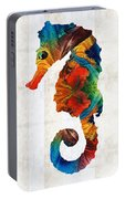 Colorful Seahorse Art By Sharon Cummings Portable Battery Charger