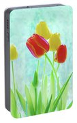 Colorful Spring Tulip Flowers Portable Battery Charger