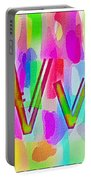 Colorful Texturized Alphabet Vv Portable Battery Charger