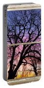 Colorful Tree White Farm House Window Portrait View Portable Battery Charger