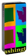 Colorful Washington State Pop Art Map Portable Battery Charger