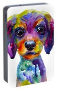 Colorful Whimsical Daschund Dog Puppy Art Portable Battery Charger