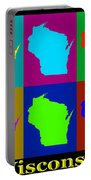 Colorful Wisconsin Pop Art Map Portable Battery Charger
