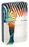 Colorful Zebra Art By Sharon Cummings Portable Battery Charger
