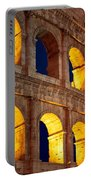 Colosseum And Moon Portable Battery Charger by Inge Johnsson