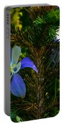 Columbine Flowers And Pine Tree Portable Battery Charger