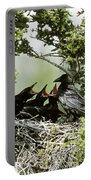 Common Raven Feeding Young In Nest Portable Battery Charger