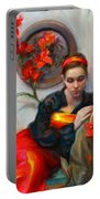 Common Threads - Divine Feminine In Silk Red Dress Portable Battery Charger