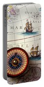 Compass And Old Map With Ships Portable Battery Charger