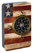 Compass On Wooden Folk Art Flag Portable Battery Charger