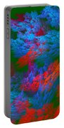 Computer Generated Abstract Red And Green Fractal Flame Portable Battery Charger