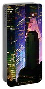 Concrete Canyons Of Manhattan At Night  Portable Battery Charger