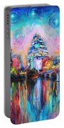 Contemporary Downtown Austin Art Painting Night Skyline Cityscape Painting Texas Portable Battery Charger