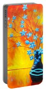 Cool Blue On Fire Portable Battery Charger