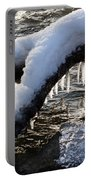Cool Icicles Reflecting In The Waves  Portable Battery Charger