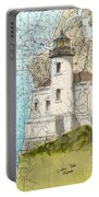 Coquille River Lighthouse Or Nautical Chart Map Art Cathy Peek Portable Battery Charger