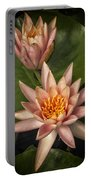 Coral Pink Water Lilies Portable Battery Charger