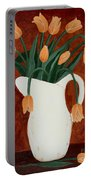 Coral Tulips In A Milk Pitcher Portable Battery Charger