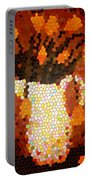 Coral Tulips In Stained Glass Portable Battery Charger