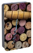 Corkscrew On Top Of Wine Corks Portable Battery Charger