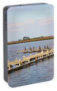 Cormorants And Seagulls On Old Dock Near Blackwater  National Wildlife Refuge Near Cambridge Md Portable Battery Charger