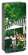 Corner Taverne Terrace French Paris Bistro Painting Sidewalk Cafe Wine Cheese Bar Montreal Cspandau  Portable Battery Charger