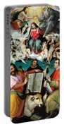 Coronation Of The Virgin With Saints Luke Dominic And John The Evangelist Portable Battery Charger
