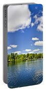 Cottage Lake With Diving Platform And Dock Portable Battery Charger