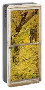 Cottonwood Fall Foliage Colors Rustic Farm Window View Portable Battery Charger