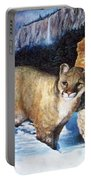 Cougar In Snow Portable Battery Charger