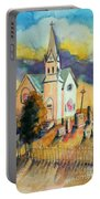Country Church At Sunset Portable Battery Charger