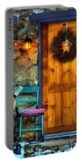 Country Cottage Door At Christmas Portable Battery Charger