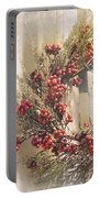 Country Wreath With Red Berries Portable Battery Charger