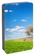 Countryside Landscape During Spring With Solitary Trees And Fence Portable Battery Charger